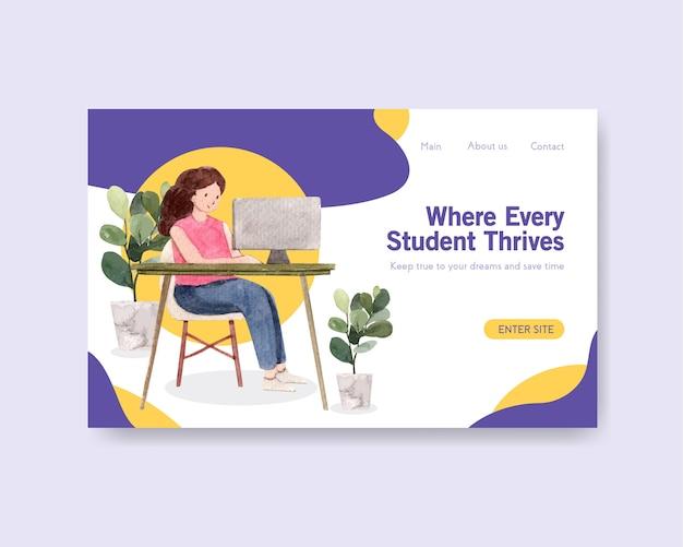 Szablon Strony Internetowej Z Akwarelą Koncepcja Edukacji Online Darmowych Wektorów