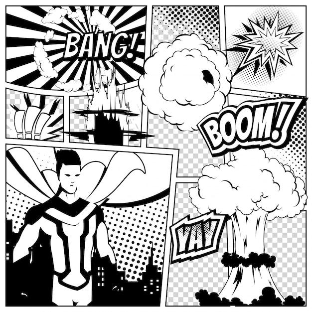 Szablon Strony Komiksu Z Różnymi Dymkami, Premium Wektorów