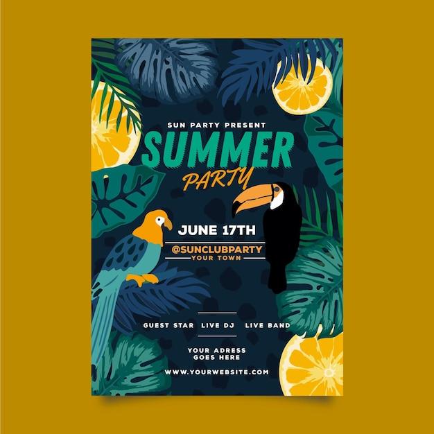 Szablon Strony Lato Plakat Z Ptakiem I Liści Darmowych Wektorów