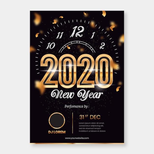 Szablon Strony Streszczenie Nowy Rok Party Plakat Darmowych Wektorów