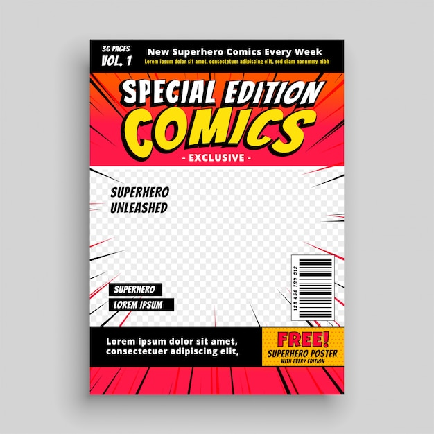 Szablon Strony Tytułowej Specjalnej Edycji Komiksu Darmowych Wektorów