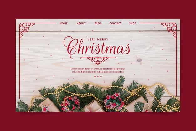 Szablon świątecznej strony docelowej Darmowych Wektorów