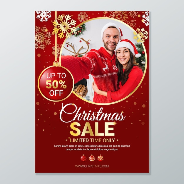 Szablon świąteczny Plakat Do Sprzedaży Darmowych Wektorów