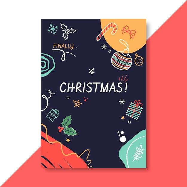Szablon świąteczny Plakat świąteczny Z Ilustracjami Darmowych Wektorów