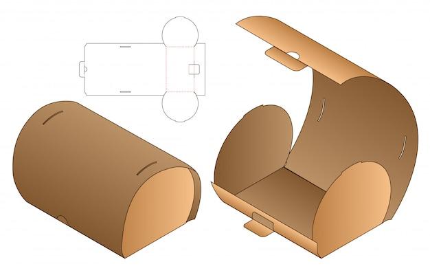 Szablon Szablonowy Do Wycinania Opakowań Typu Curve Box. 3d Premium Wektorów
