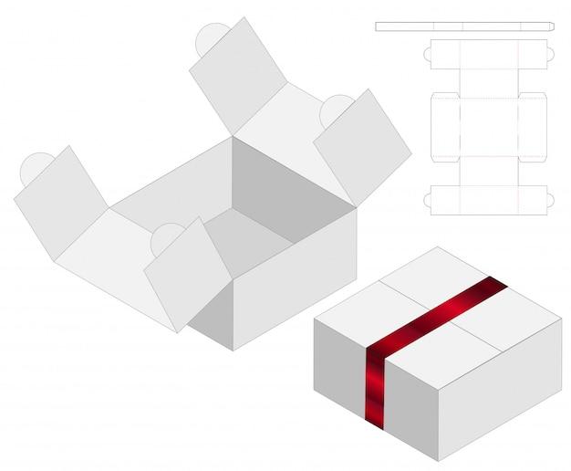 Szablon Szablonu Wycinany W Pudełku. Makieta 3d Premium Wektorów