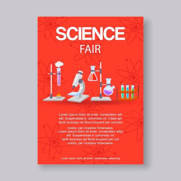 Szablon tekstowy science fair i targi innowacji. zaproszenie na wydarzenie edukacyjne lub naukowe z mikroskopem, zlewkami i formułą cząsteczki dla naukowców targów fizyki, chemii. Premium Wektorów