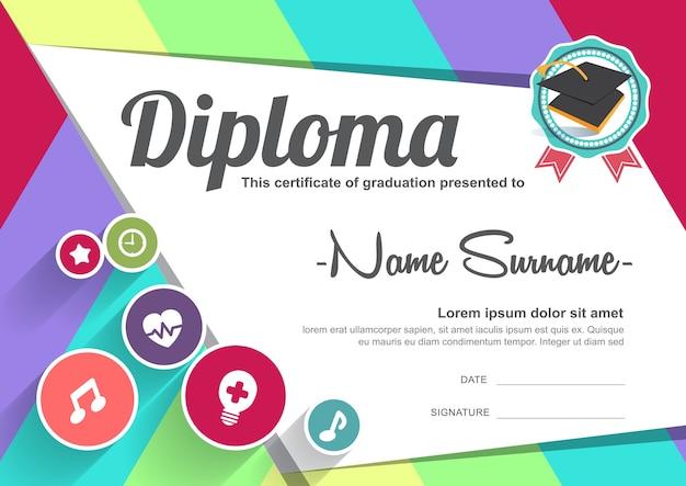 Szablon Tła Certyfikatu Dyplomu Dzieci W Wieku Przedszkolnym Premium Wektorów