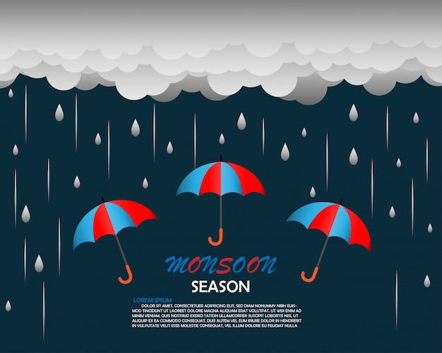 Szablon tło sezon monsun Premium Wektorów