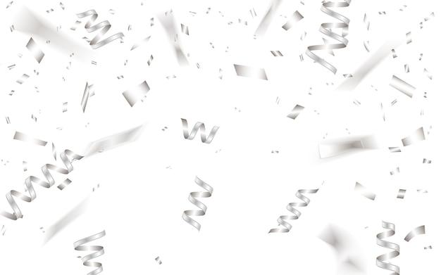 Szablon Tło Uroczystość Ze Srebrnym Konfetti. Premium Wektorów