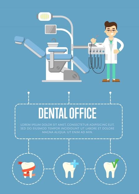 Szablon transparent biuro dentystyczne z dentystą i fotel dentystyczny Premium Wektorów