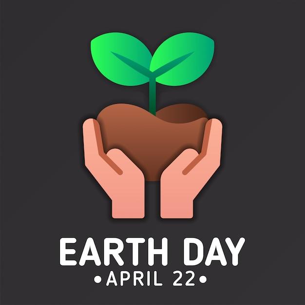 Szablon transparent dzień ziemi z gospodarstwa ikona roślin Premium Wektorów