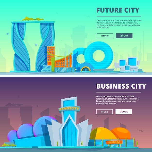 Szablon transparent futurystyczne budynki. wektorowe ilustracje budynki w kreskówka stylu Premium Wektorów