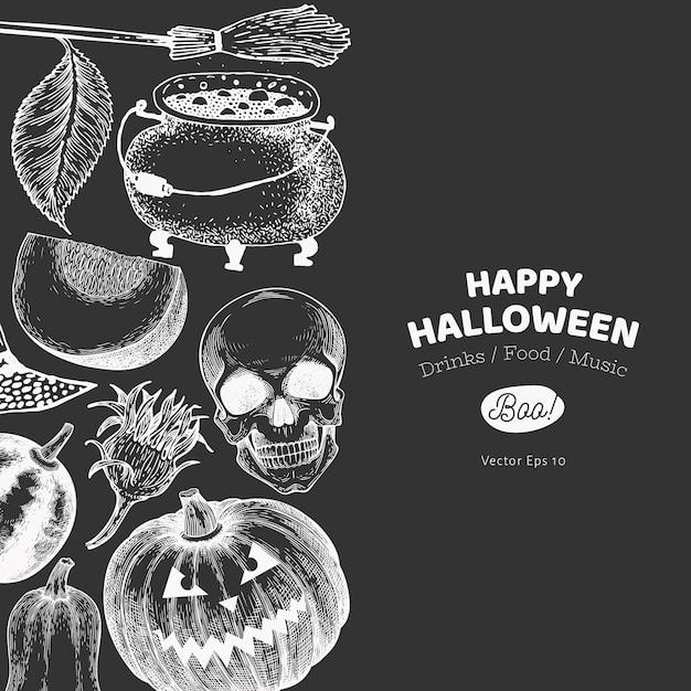 Szablon transparent halloween. ręcznie rysowane ilustracje na tablicy kredą. w stylu retro dynie, czaszki, kocioł i słonecznika. Premium Wektorów