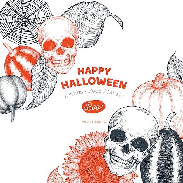 Szablon transparent halloween. ręcznie rysowane ilustracje. w stylu retro dynie, czaszki, kocioł i słonecznika. Premium Wektorów