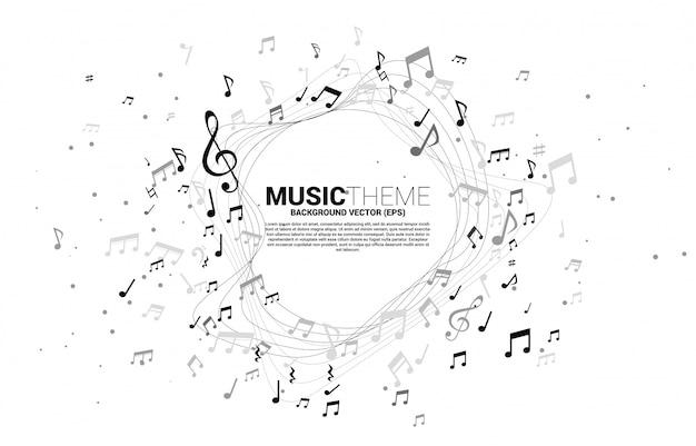 Szablon Transparent I Plakat Melodia Muzyka Uwaga Taniec Przepływu. Motyw Piosenki I Koncertu. Premium Wektorów