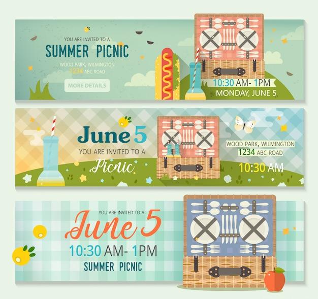 Szablon transparent karta zaproszenie piknik z naturą lato, kosz piknikowy i obrus kratę Premium Wektorów