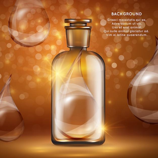 Szablon Transparent Kosmetyki Organiczne Olej Realistyczne Krople Butelek I Oleju Premium Wektorów