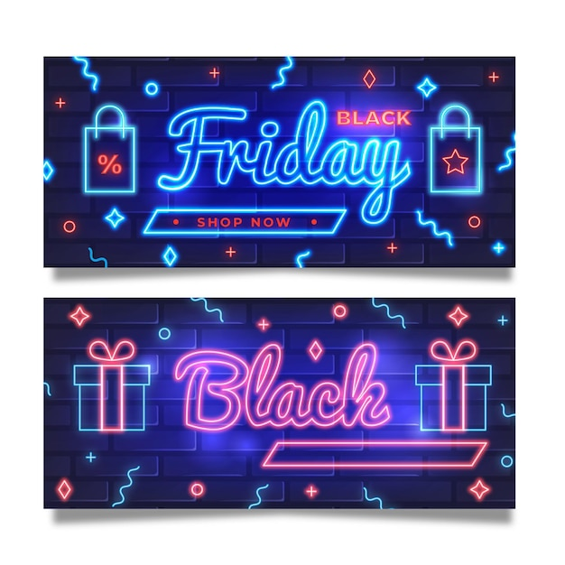 Szablon Transparent Neon Czarny Piątek Darmowych Wektorów