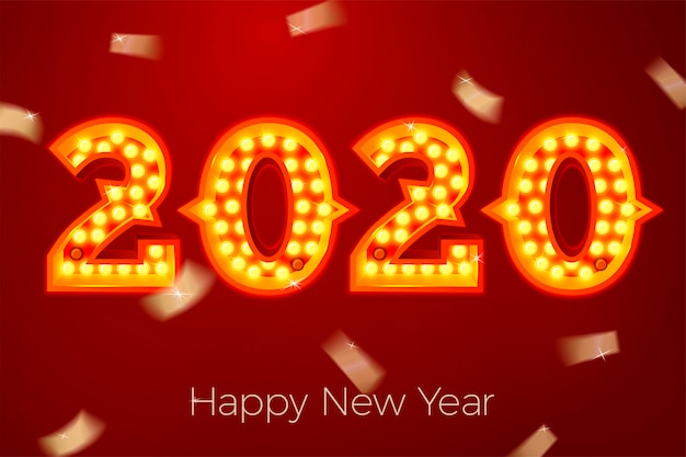 Szablon Transparent Nowy Rok Z Jasnymi żarówkami Liczby 2020 Na Czerwonym Tle Premium Wektorów
