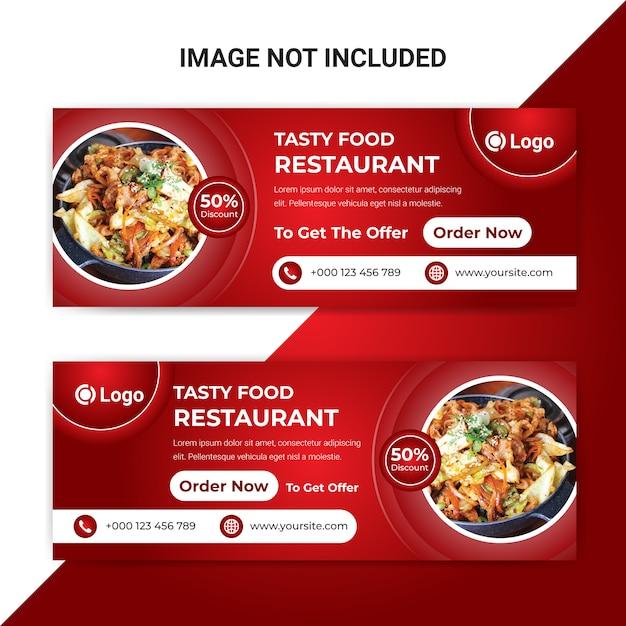 Szablon Transparent Okładka Smaczne Jedzenie Facebook Dla Restauracji Premium Wektorów