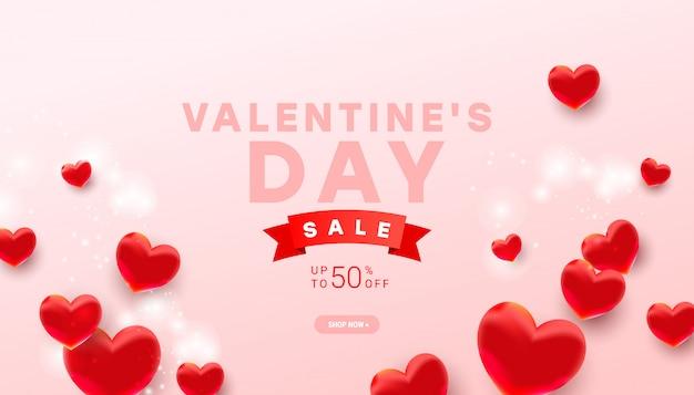 Szablon Transparent Sprzedaż Walentynki. Realistyczna Dekoracja 3d Serce Balonu Na Jasnoróżowym Premium Wektorów