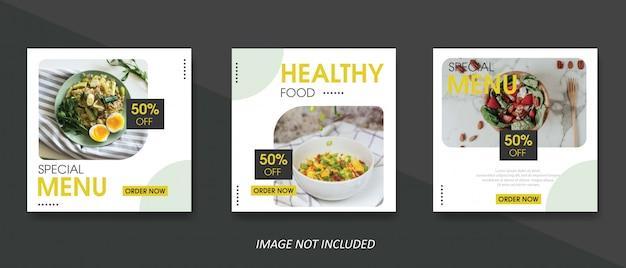 Szablon transparent sprzedaż żywności i kulinarne dla postu w mediach społecznościowych Premium Wektorów