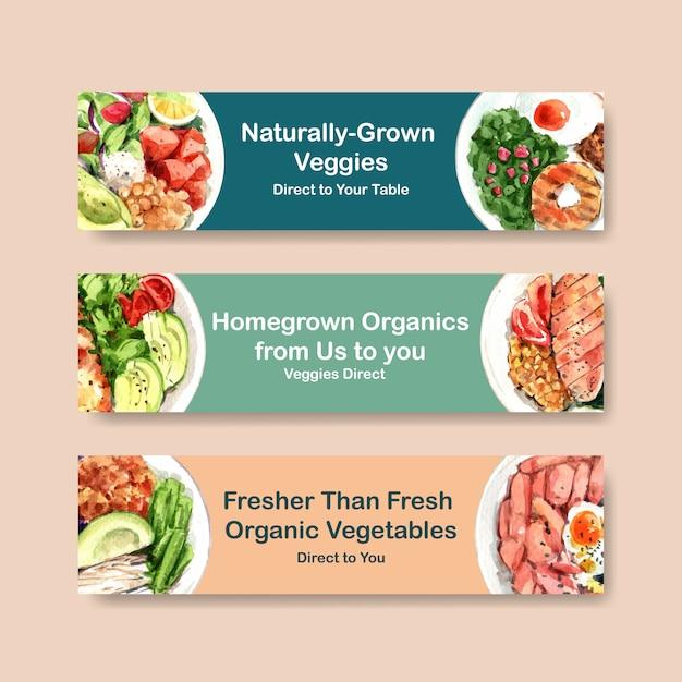 Szablon Transparent Transparent Zdrowej żywności Na Kupon, Akwarela Reklama Darmowych Wektorów