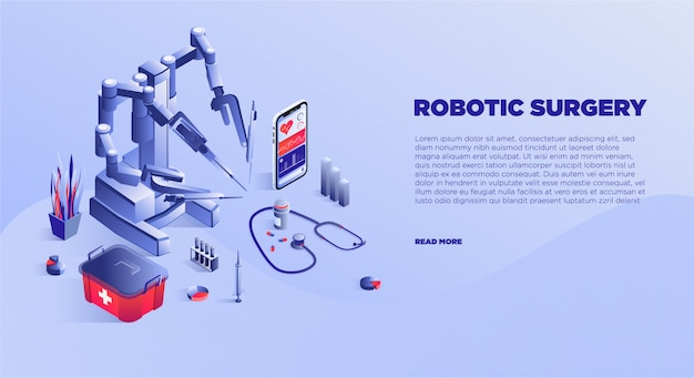 Szablon Transparent Usługi Robota Chirurgii Premium Wektorów