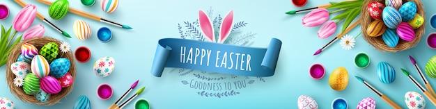 Szablon Transparent Wielkanocny Z Pisanki W Gnieździe Premium Wektorów