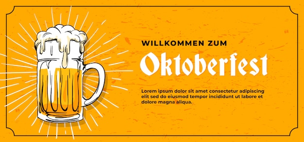 Szablon transparent willkommen zum oktoberfest Premium Wektorów