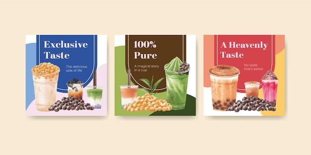 Szablon Transparent Z Bąbelkową Herbatą Mleczną Darmowych Wektorów