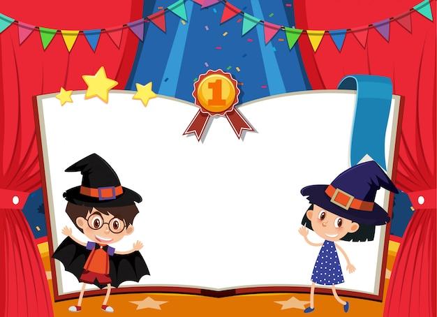 Szablon Transparent Z Chłopiec I Dziewczynka W Stroju Na Scenie Premium Wektorów
