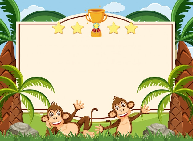 Szablon Transparent Z Dwóch Szczęśliwych Małp W Parku Premium Wektorów