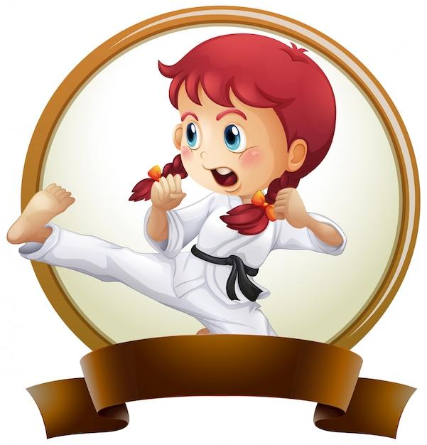 Szablon Transparent Z Dziewczyną Robi Karate Darmowych Wektorów
