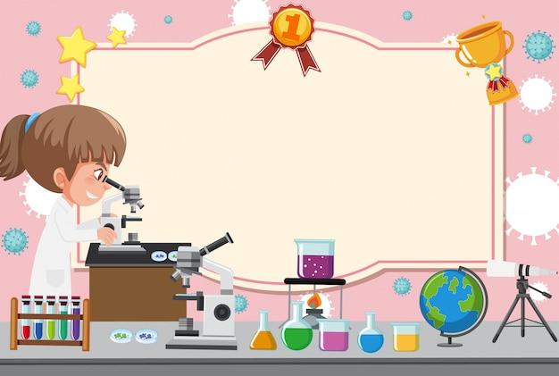 Szablon Transparent Z Dziewczyną W Sukni Laboratoryjnej, Patrząc Przez Mikroskop Premium Wektorów