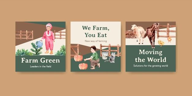 Szablon Transparent Z Ilustracja Akwarela Projekt Ekologicznej Farmy. Darmowych Wektorów