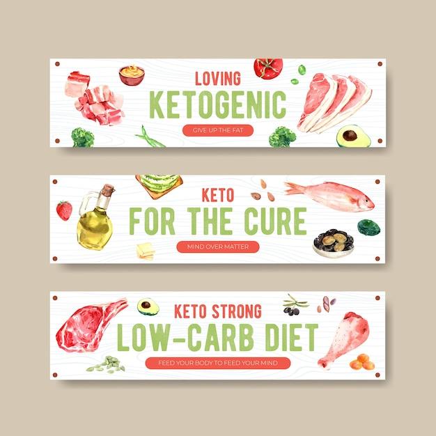 Szablon Transparent Z Koncepcją Diety Ketogenicznej Do Reklamy I Marketingu Ilustracji Akwarela. Darmowych Wektorów