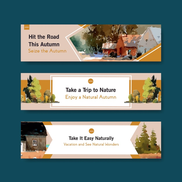 Szablon Transparent Z Krajobrazem W Jesiennym Designie Darmowych Wektorów