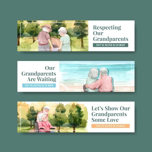 Szablon Transparent Z Krajowym Projektem Koncepcyjnym Dnia Dziadków Dla Broszury I Ulotki Akwarela. Darmowych Wektorów