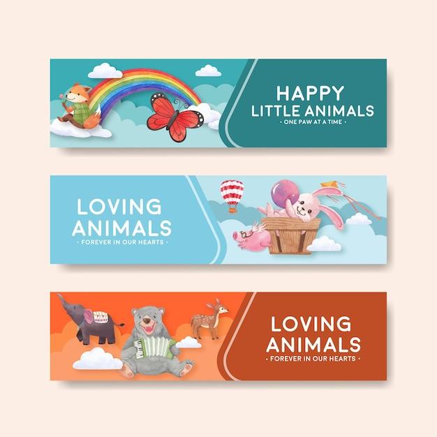 Szablon Transparent Z Szczęśliwych Zwierząt Koncepcja Akwarela Ilustracja Premium Wektorów