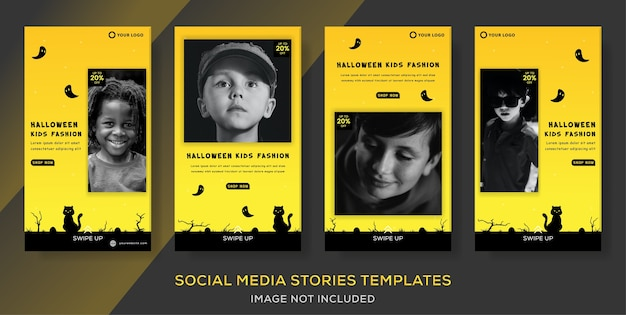 Szablon Transparentu Mody Dla Dzieci Na Post Opowieści O Sprzedaży Na Halloween. Premium Wektorów