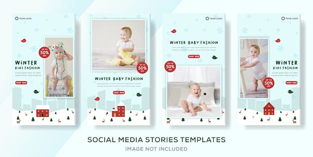 Szablon Transparentu Odzieży Dla Dzieci Na Zimową Wyprzedaż Dla Postów W Mediach Społecznościowych Premium Wektorów