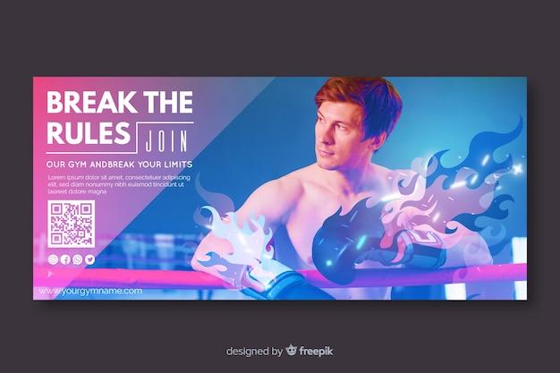 Szablon Transparentu Sportowego Ze Zdjęciem Darmowych Wektorów