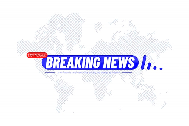 Szablon Tytułu Breaking News Z Technologiczną Mapą świata Dla Kanału Telewizyjnego Z Ekranem Premium Wektorów