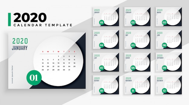 Szablon układu kalendarza elegancki styl biznesowy 2020 Darmowych Wektorów