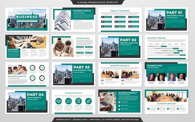 Szablon Układu Prezentacji Biznesowej Z Minimalistycznym Stylem I Czystym Wykorzystaniem Koncepcji Dla Slajdu Z Motywem Biznesowym I Raportu Rocznego Premium Wektorów