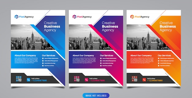 Szablon Ulotki Agencja Kreatywna Premium Wektorów