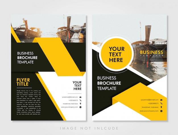 Szablon ulotki biznesowej żółty Premium Wektorów