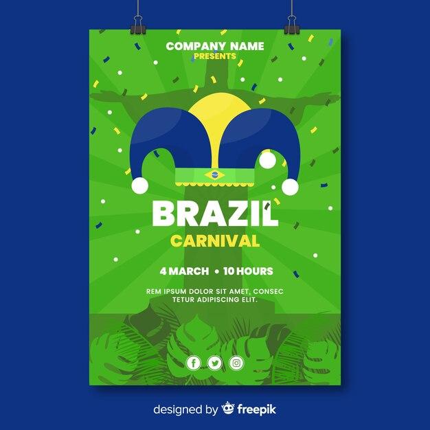 Szablon ulotki brazylijski karnawał party Darmowych Wektorów